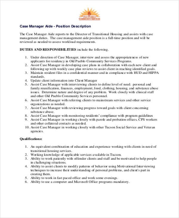 Case Management Job Description | Caseworker Job Description Wordsresumepages Ml