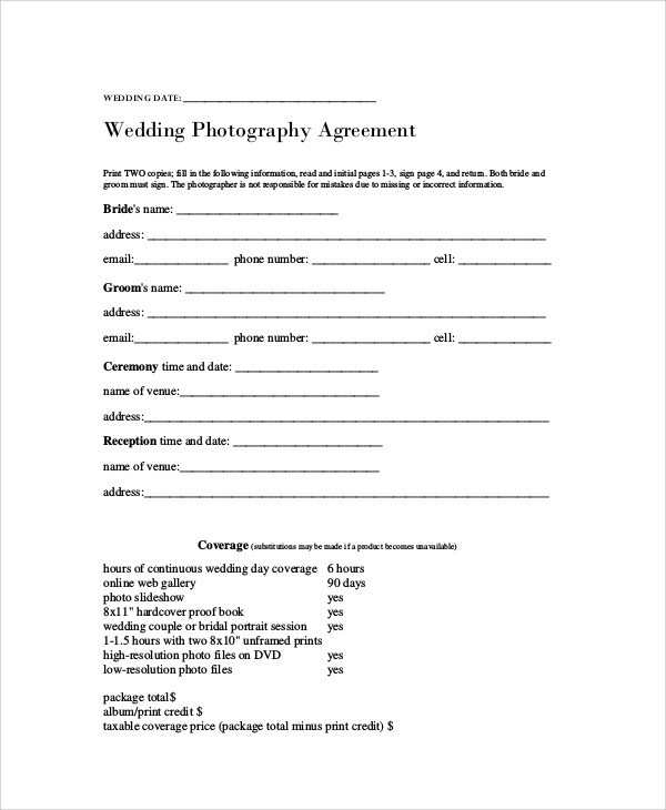 Photography Agreement Contract Sample  7 Examples in Word PDF