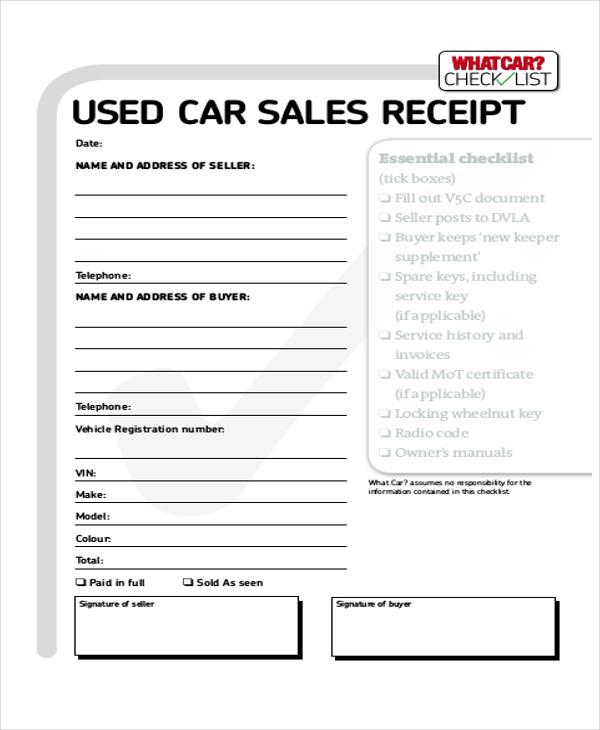 7 Cash Sale Receipt Samples Sample Templates