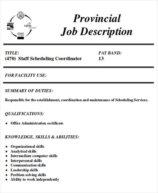 8 Scheduling Coordinator Job Description Samples Sample