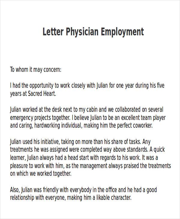 letter of recommendation sample for medical doctor
