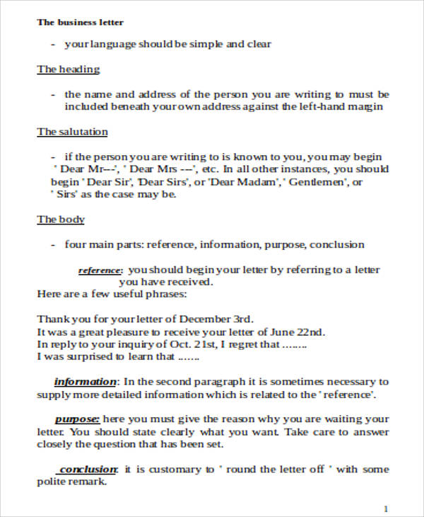 Business Letter Format Template Word