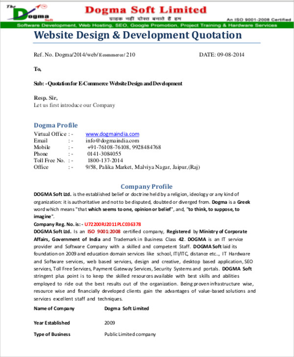 11 Website Quotation Samples – PDF Word Pages Sample