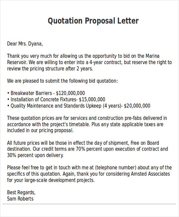 12 Quotation Proposal Samples Sample Templates