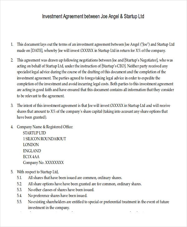 Sample Investment Contract Agreements  10 Examples in Word PDF Google Docs Apple Pages
