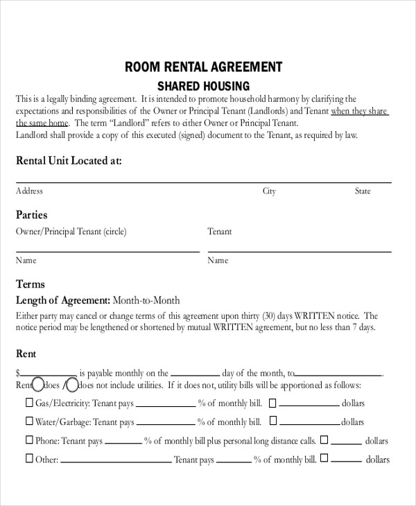 Sample Rental Contract Agreement  13 Examples in Word PDF