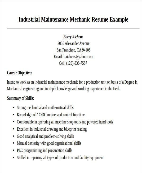 9 Sample Maintenance Technician Resumes Sample Templates