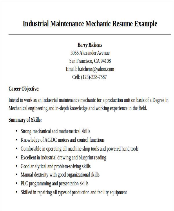 resume examples for maintenance mechanic