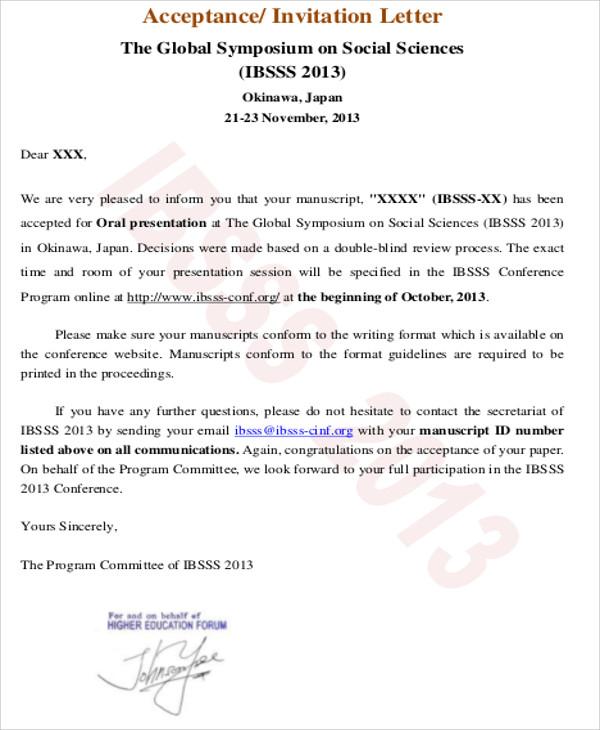 free 8 sample formal acceptance letter