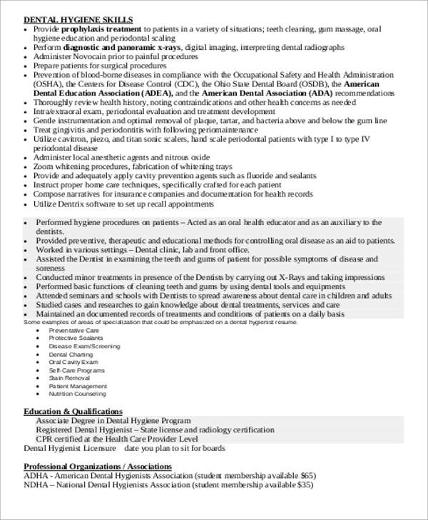 hygienist resume sample