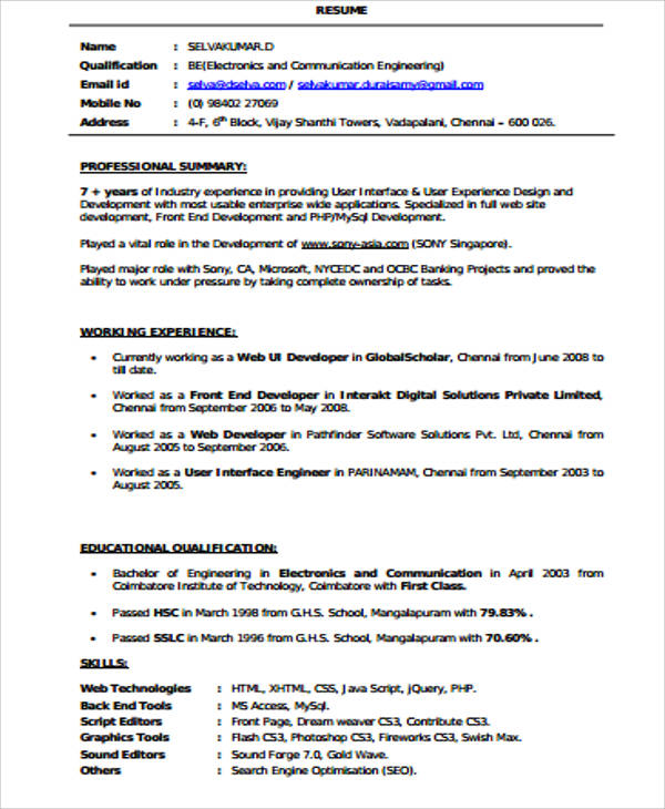 junior java developer cv example front end web resume sample india pdf