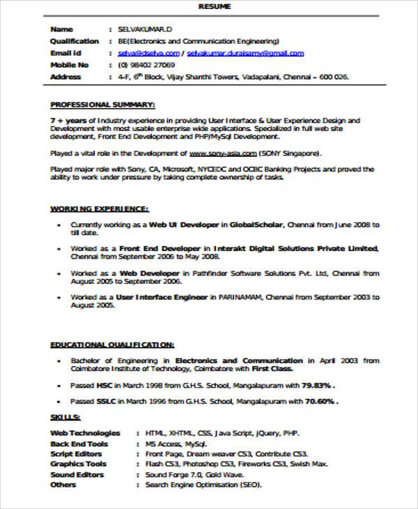 front end developer resume gse bookbinder co - Web Design Resume Examples