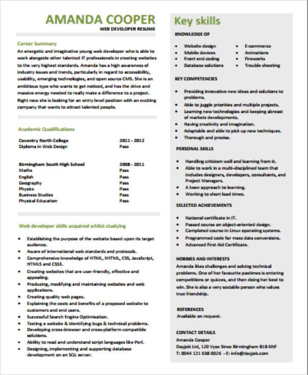 sample front end application developer resume