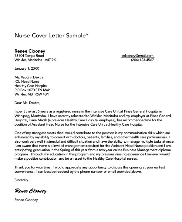 8 Nursing Cover Letter Example  Free Sample Example Format Download