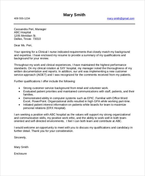 example cover letter for nursing