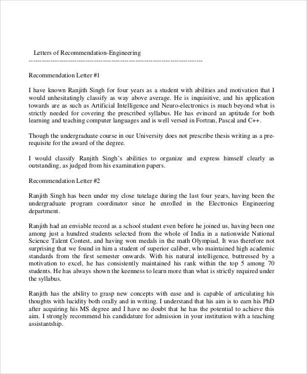 professional engineer recommendation letter sample