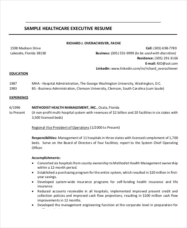 7 Sample Healthcare Resumes Sample Templates