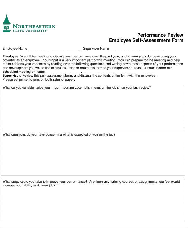 7+ Employee Self-Assessment Samples   Sample Templates