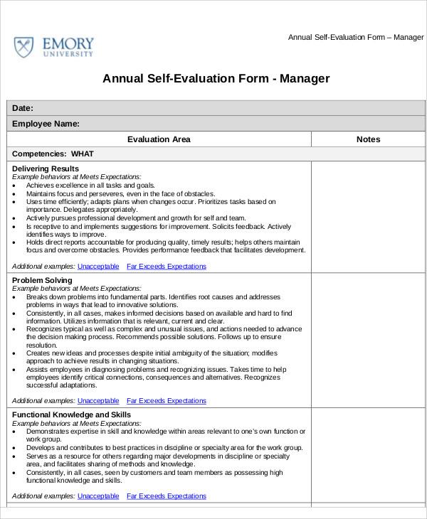 annual self assessment sample