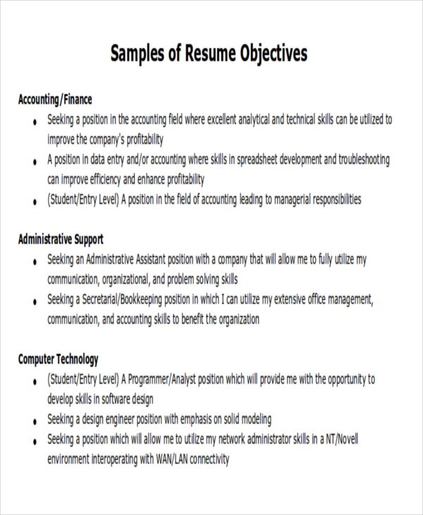 7 Career Objectives Sample Examples In Word PDF