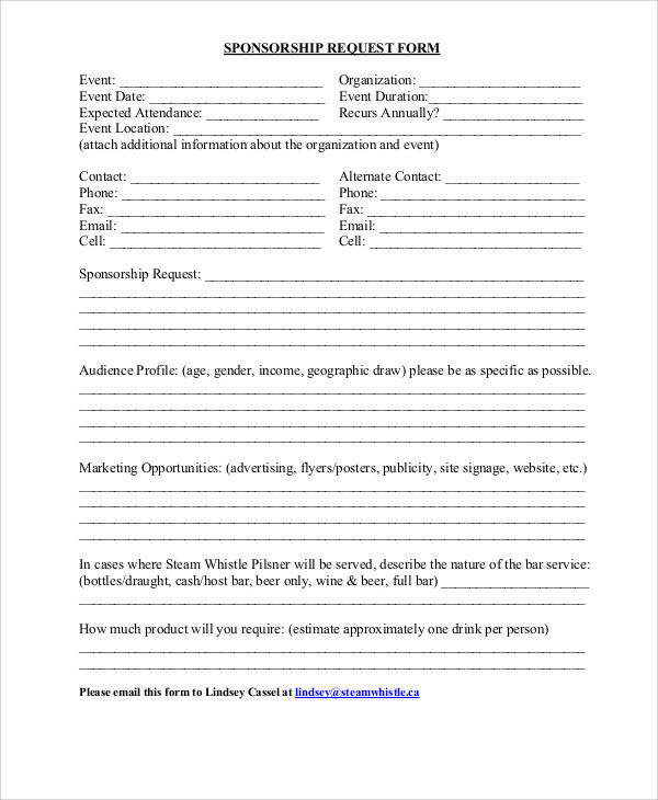 9+ Sample Sponsorship Request Forms | Sample Templates