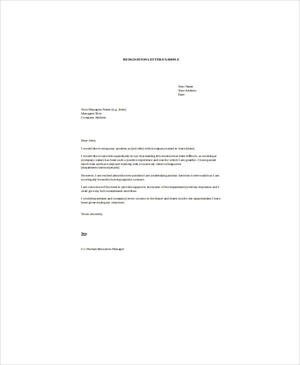 resignation letter word template