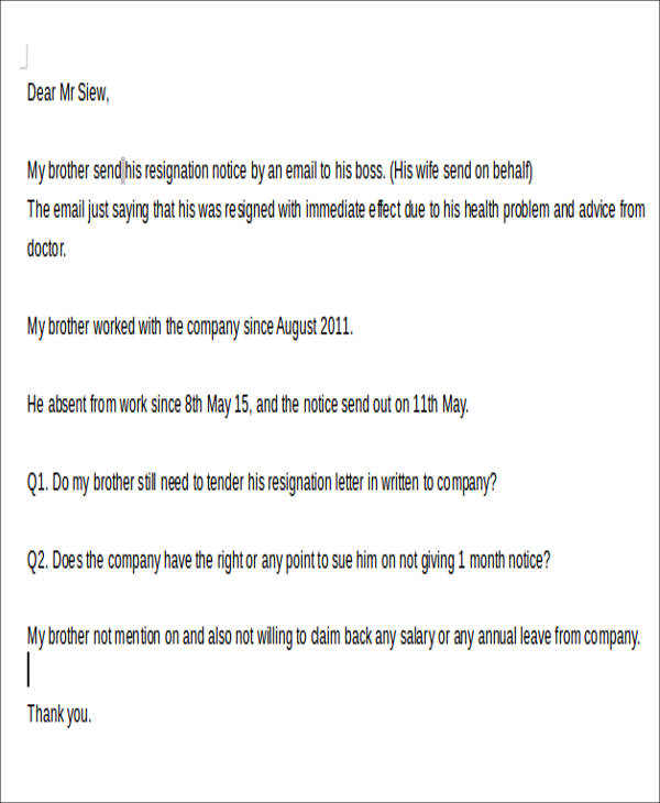 7 Immediate Resignation Letters Samples Examples