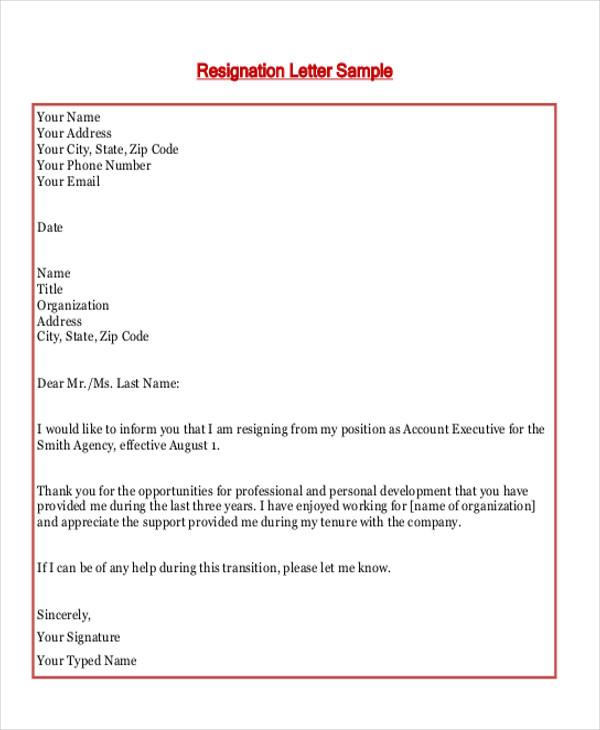 Resignation Letter Transition