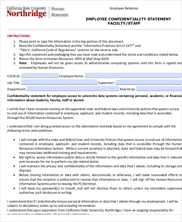 10+ Sample Confidentiality Statements – PDF, Word | Sample Templates