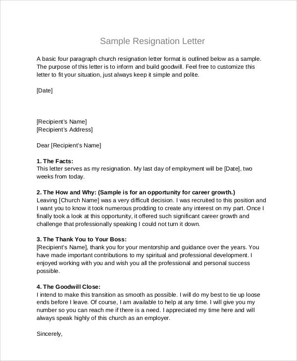 5+ Sample Board Resignation Letters | Sample Templates