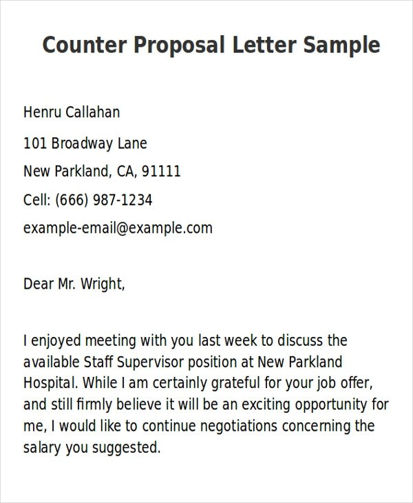 Counterproposal Letter Sample How Write Application Letter Through