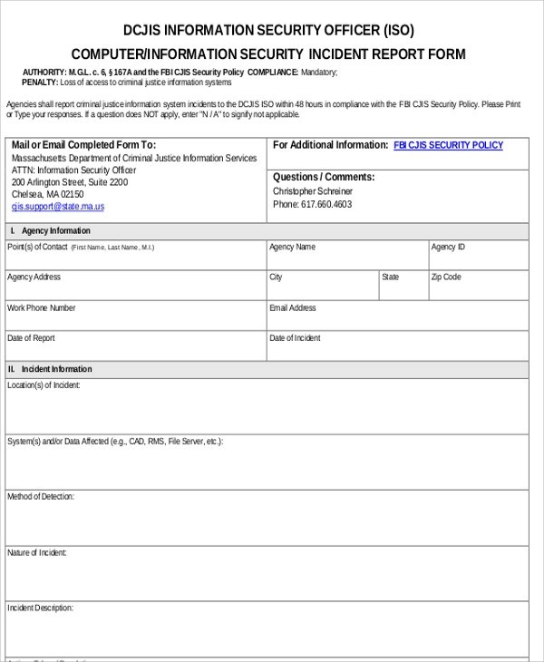 This is a flexible template that can be used to report various types of events including accidents, injuries, workplace incidents, property loss or damage, and close calls. Free 13 Sample Security Incident Reports In Ms Word Pages Google Docs Pdf