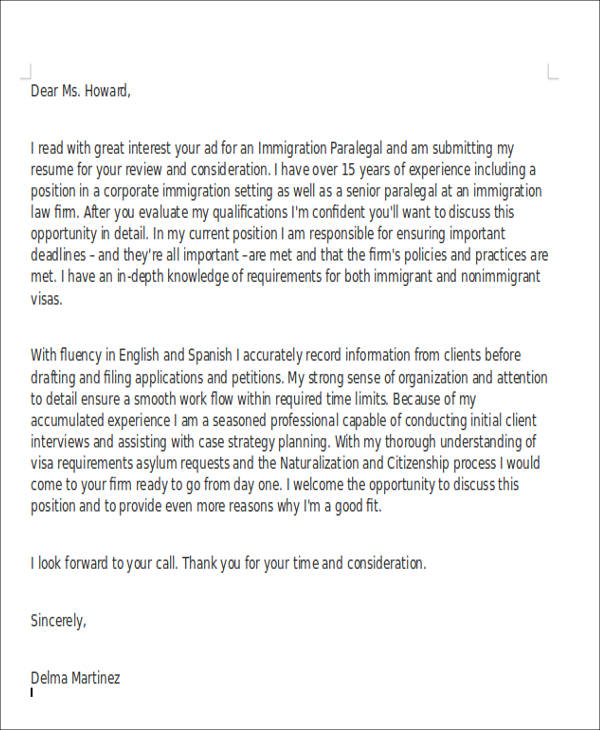 8 Legal Assistant Cover Letter Examples In Word PDF