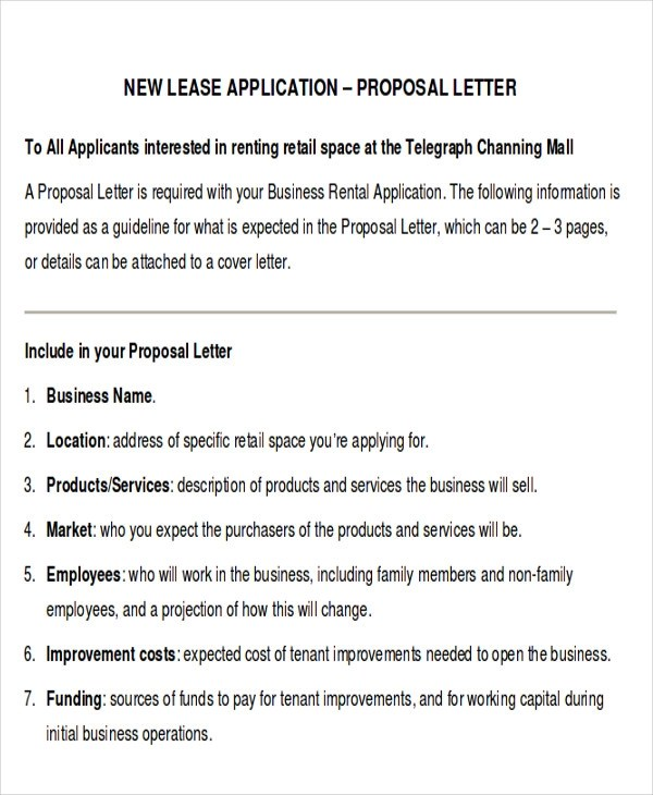 14 Sample Lease Proposal Letters PDF Pages