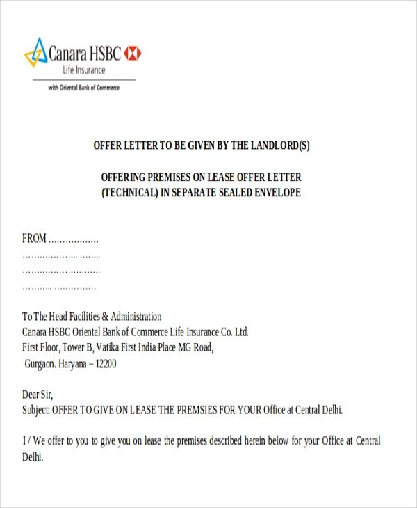 Lease Offer Letter  Docoments Ojazlink