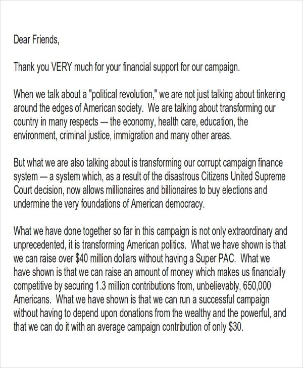 Campaign Thank You Letter Gallery - Letter Format Formal Sample