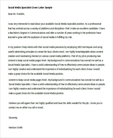4 Social Media Cover Letter  Examples in Word PDF