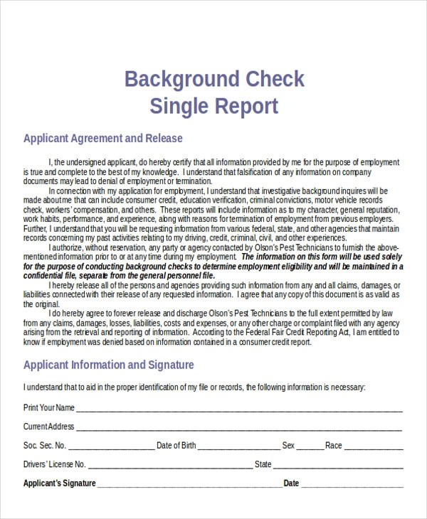 Sample Background Check Report  7 Examples in Word PDF