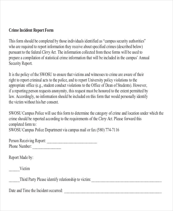 19+ Sample Incident Reports | Sample Templates