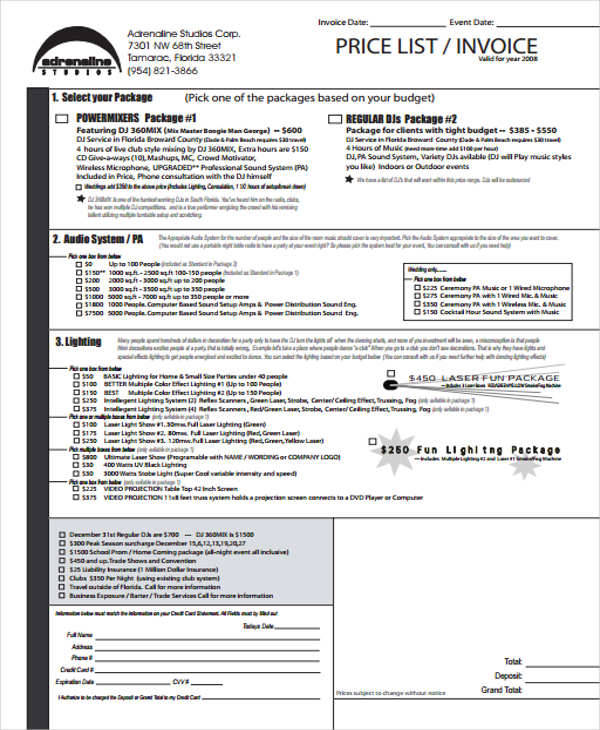 sample invoices for services