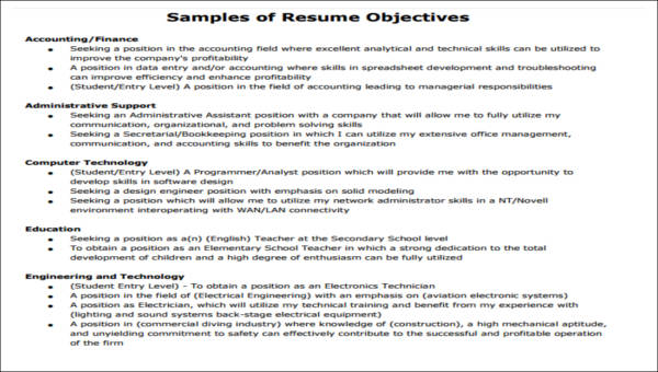 5 Generic Resume Objectives  Sample Templates