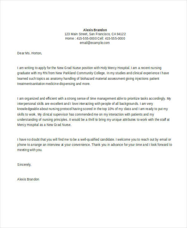 how to write a nursing cover letter new grad