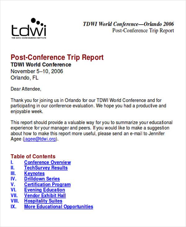 sample of trip report