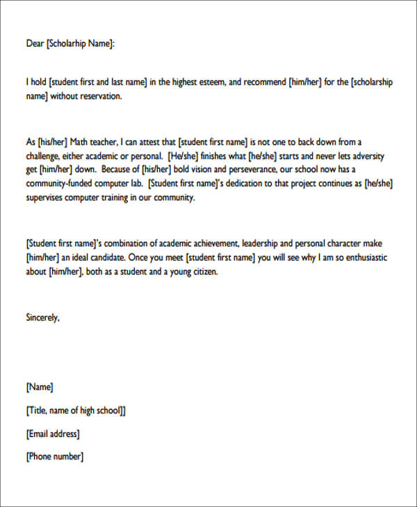 example of letter of recommendation for student scholarship