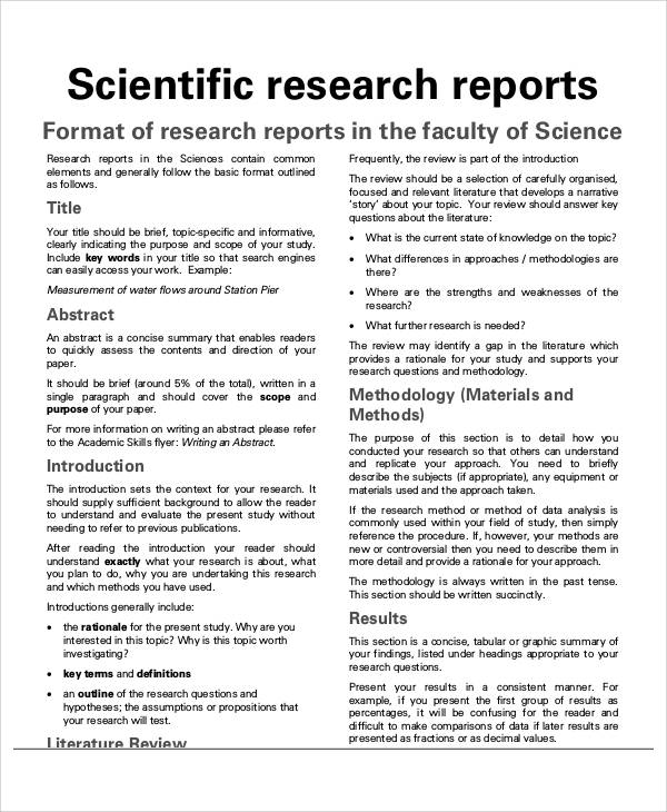Research Project Report A Scientific Research Paper Example Example