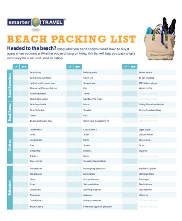 Free 11 Packing List Samples In Ms Word Pdf