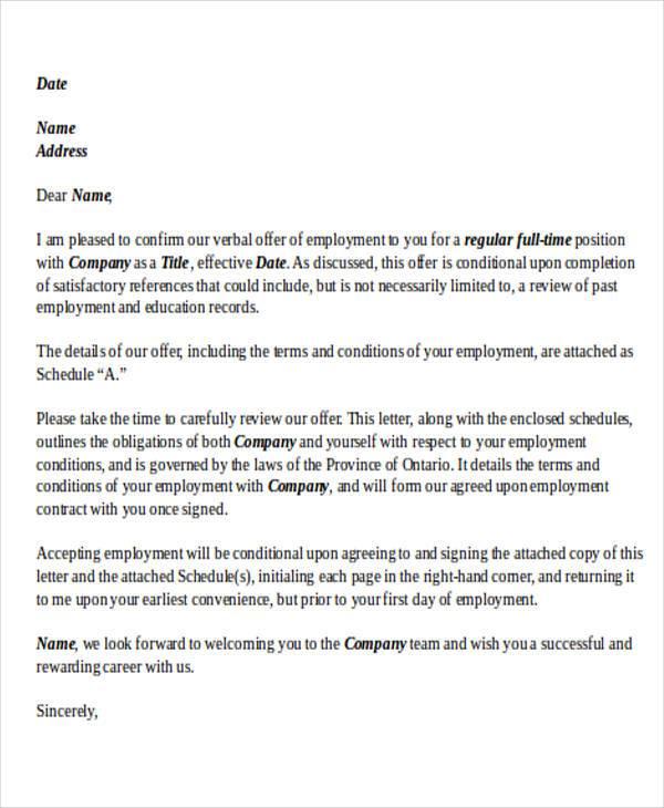 letter for job offer acceptance
