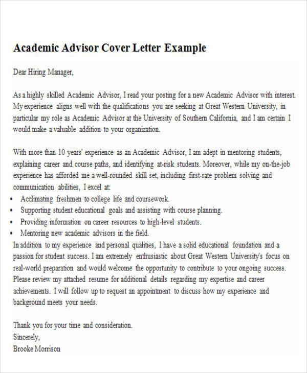 cover letter for academic advisor job. Black Bedroom Furniture Sets. Home Design Ideas