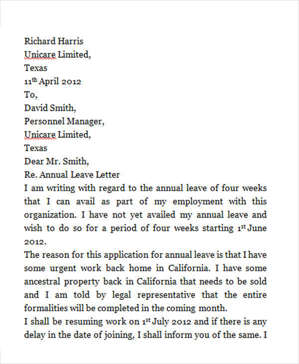 Study Leave Letter Templates