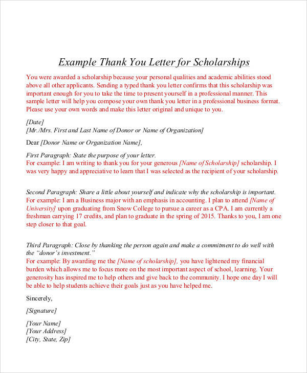 9 Sample Award Thank You Letter Free Sample Example